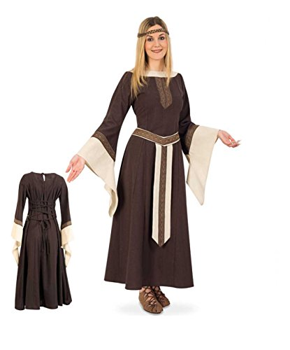 KarnevalsTeufel Edelfrau-Mittelalter braun beige langarmiges langes Kleid mit Gürtelblende (M) (Edelfrau Kostüm)