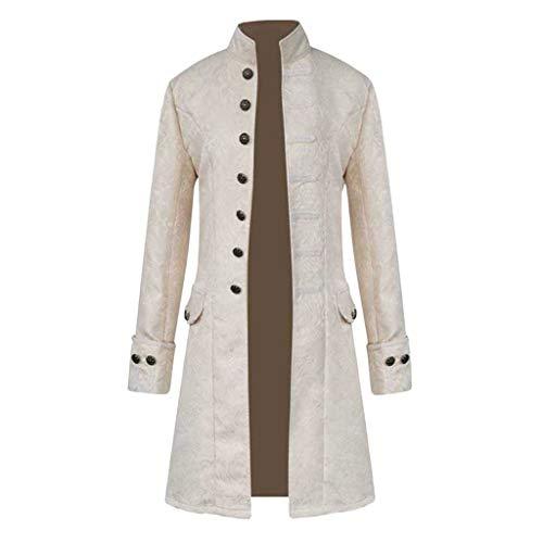 KPILP Herren Vintage Smoking Jacke Anzugjacke Gothic Steampunk Langarm Frack Stehkragen Mantel Gehrock Uniform Cosplay Kostüm Party Druck Outwear - Kimono Kostüm Mieten