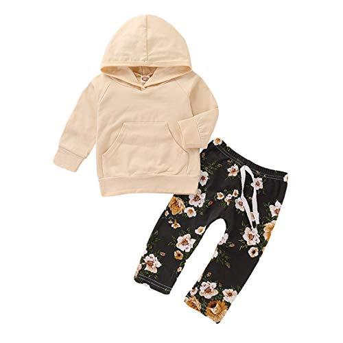 LENGIMA Kinder Mädchen Beige Langarm Solid Hooded Sweatshirt + Floral Drawstring Pants (Color : Beige, Size : 90) - Klassische Drawstring Shorts