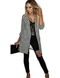 40f90dd02ad47 Top Fashion18 Ladies Womens Check Hounds Tooth Tartan 3 4 Sleeve Duster  Coat Jacket Blazer