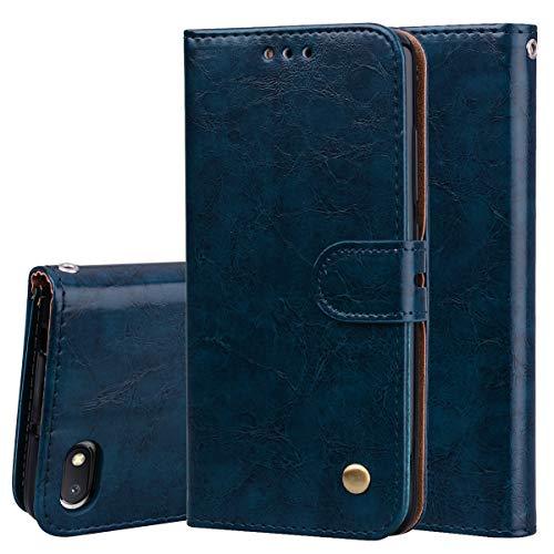 Nadoli Leder Hülle für Xiaomi Redmi 6A,Retro Ölwachs Premium Pu Leder Magnetverschluß Ständer Klapptasche Kartenfäche Flip Schutzhülle Tasche Brieftasche -