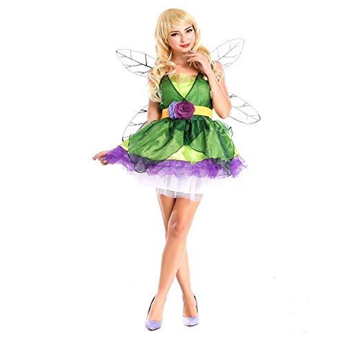 Fairy Flower Kostüm Frauen - Fashion-Cos1 Adult Flower Fairy Kostüm Märchen Green Elf Cosplay Halloween Fairy Kleider Karneval Dress Up Party Queen Kostüm (Color : Green)