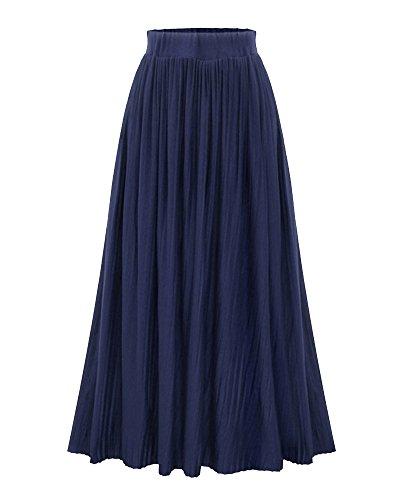 Donna casual pieghettato retro maxi elasticizzata vita gonna ampia lunga blu marino m