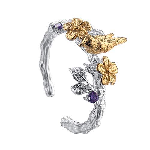 GFLD Ringe 925 Sterling Silber Ring weiblichen Zweig Blüte öffnen verstellbaren Ring -