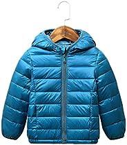 El abrigo con capucha de la chaqueta de luz Puffer para los bebés lactantes para niños Los niños pequeños (azu