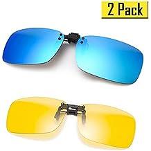 Cyxus [2 paquetes] (Clip On) deportes polarizado gafas de sol con a prueba de viento espejo lente, Hombres / mujeres sin aros al aire libre Gafas de protección Para esquí / bicicleta / pesca / correr / conducir / golf, azul y visión nocturna