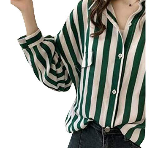 CuteRose Women Plus-Size Vertical Stripes Long Sleeves Blouse Shirt Green S