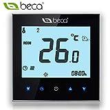 Termóstato, Interruptor de control BECA Pantalla táctil LCD 3A Calefacción de suelo de agua Termóstato programable (3A para calefacción de agua, negro)