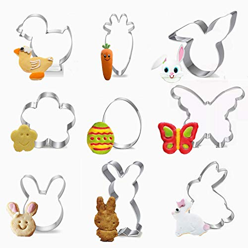 XUNKE Ausstechförmchen Ostern, 9 Stück Oster Ausstecher Set, Plätzchen Ausstecher Ostern, Ausstechform|Ausstecher Hase|Keksausstecher Ostern, Ideales Ostergeschenk & für Osterplätzchen