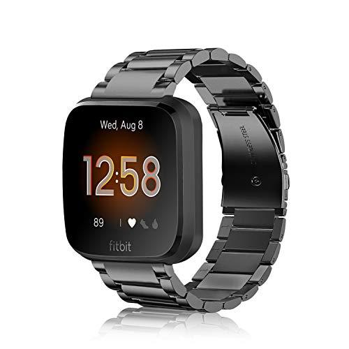 Fintie Armband kompatibel für Fitbit Versa/Fitbit Versa Lite - 22mm Uhrenarmband Edelstahl Metall Ersatzband für Fitbit Versa Health & Fitness Smartwatch, Schwarz