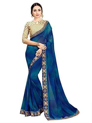 TAGLINE Georgette Saree With Blouse Piece(Tag16060_Blue Free Size)