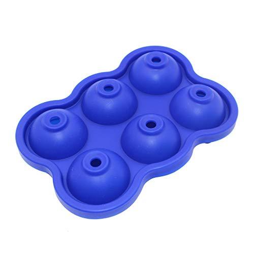LafyHo 6-Loch Kugel EIS-Form-EIS-Hersteller Tabletts Neuheit 6-Loch-Silikon Eiskugel -Lebensmittelklassensilikon Ice Ball Maker mit Deckel für Infundiertes Ice Dunkelblau