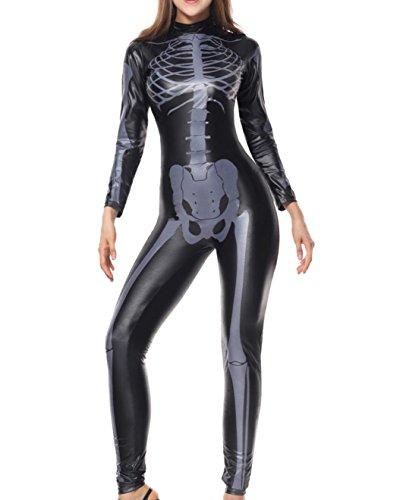 DuuoZy Frauen Halloween Skeleton Print Kostüm Stretch Skinny Catsuit sexy faux Leder Overall , schwarz , xl
