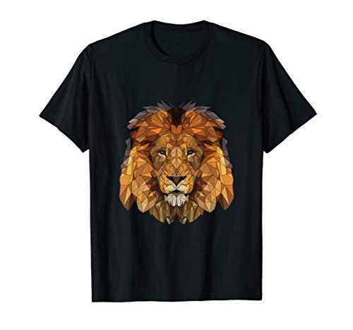 Löwe Tshirt Löwenkopf Afrika geometrisch Hipster Low Poly (König Der Löwen T Shirt Kinder)