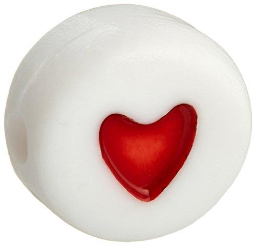 Alpha Alphabet Bead (Darice Acryl Alphabet beads-red hearts-round-white-6mm)