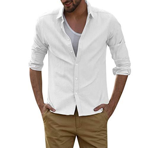 ❤AG&T❤-Damen Herren Freizeithemd Regular Fit Lange Ärmel Männer Sommer Hemd Casual Regular Fit Leinenhemd Einfarbig Beachwear -
