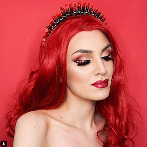 Imstyle Afrordable Price Hot Red Color Long Body Wavy Texture Synthetic Lace Front Wigs Drag Queen