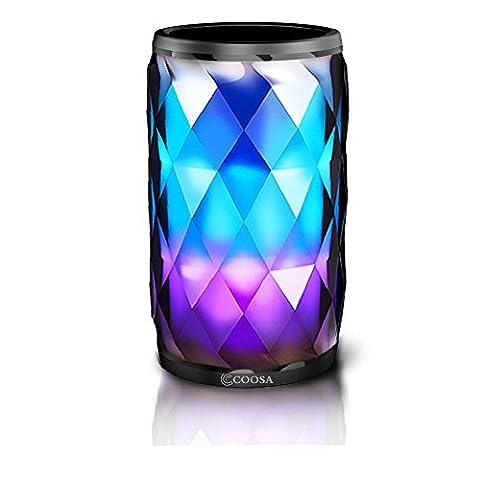COOSA Haut-Parleur Bluetooth 4.2 sans Fil Enceinte Portable 3D Son Stéreo Surround avec Lumières LED Haute Définition Qualité Sonore & Basse Supérieure avec Port TF Carte, Mains Libres, Temporisation, Smart Touch LED-Vogue et Cool