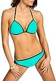 CASPAR Damen Bikini BANDAGE Bikini Set / TRIANGEL / Neckholder Push Up gepolstert / Badebekleidung - viele Farben - BIK001, Farbe:mint;Größe:36 S UK8 US6