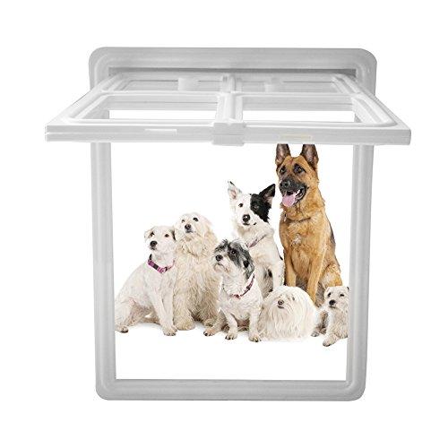 Acogedor Pet Bildschirm Tür Magnetverschluss Pet Fenster Bildschirm Hund Tür Door Gate für Katzen Hunde (M/L, Schwarz/Weiß/Kaffee), weiß, Large - Pet-tür-fenster