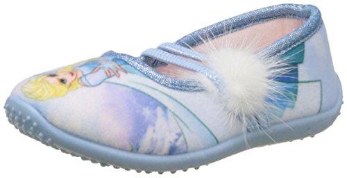 Kinder Für Frozen Schuhe (Frozen Mädchen Girls Kids Ballerina Houseshoes Unten, Multicolore (White/L.T.Blue), 27)