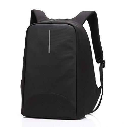 Sac à dos Antivol Sac pour ordinateur portable avec fermeture à glissière anti-voleur et USB Chargement Sac à dos décontracté imperméabler-Noir