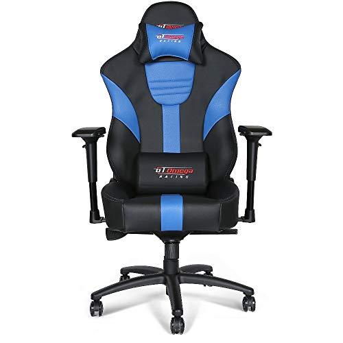 GT Omega Racing Master XL - Silla de Oficina de Piel, para Gaming, Color Negro y Azul