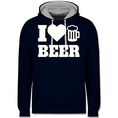 Shirtracer Oktoberfest Damen - I Love Beer - weiß - M - Navy Blau/Grau meliert - JH003 - Kontrast Hoodie - Bier Hoodie-beutel