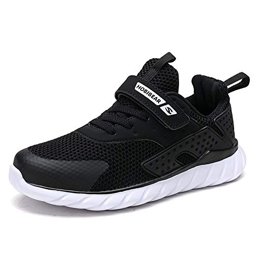Sneakers Bambini Ragazzi Scarpe Sportive Ragazze da Interno Scarpe da Corsa per Bambini Unisex Nero 31 EU