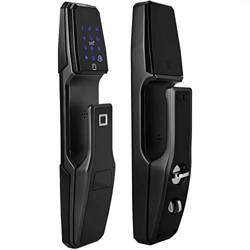 Biometrischer Elektronisches Türschloss, Smart Hause Multifunktional Digital Elektronische Schlösser, Fingerabdruck/Schlüssel/IC-Karte/Passwort/Dynamisches Passwort(weiß)
