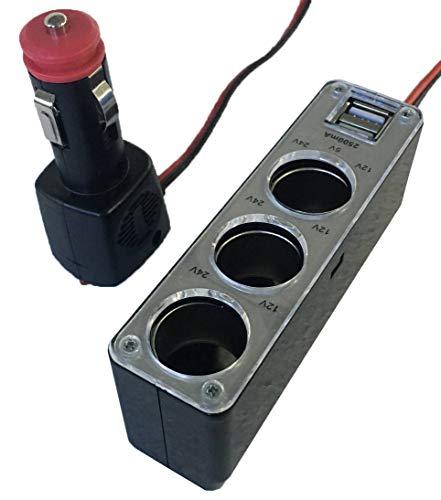 ObboMed PD-3020 3-Fach Kfz-Steckdose und 2 USB Anschlüssen, mit Extra Festsitzendem Patentiert Zigarettenanzünderstecker für Sichere und Stabile Spannungsversorgung, 180W 12V/24V DC 15a/3 Bank