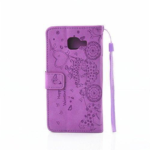 Ecoway Case / Cover / Téléphone / Housse pour Apple iPhone 5C Belles jolis motifs Bling Crystal Glitter Strass gaufrage design Folio PU Housse en cuir avec support dans BookStyle poches de carte de cr pourpre