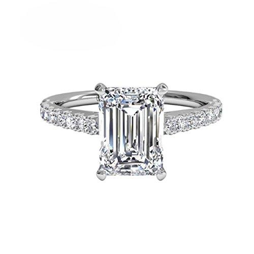 ssanit Verlobung Diamant Ring Sterling Silber Weiß Gold Finish Größe M N O P ()