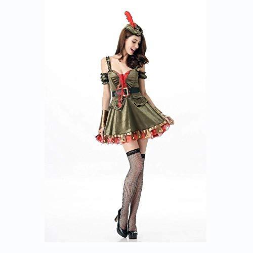 Fashion-Cos1 Halloween Womens Xmas Christmas Elf Frau Kostüm Midi Kleid Rollenspiel Prinzessin Kostüm (Frau Kostüm Alte Make-up)
