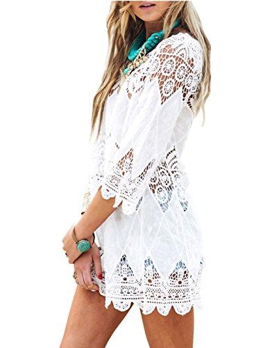 en Badeanzug Kurz Sommer Strand Kleider Beach Kleid Schöne Spitze Strandkleider Bikini Cover Up für Urlaub (Weiß, One Size) ()