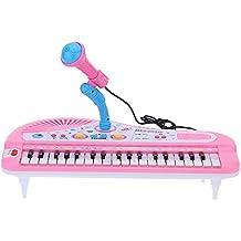37 Teclas Mini Teclado Electrónico de Música de Juguete con Micrófono Electone Regalo para Niños Principiantes de la Historieta