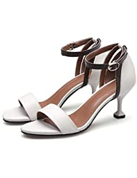 Elegant high shoes5915-18 Sandali da donna da donna/Buckle Nights Office & Career Fine Heels, bianca, 40