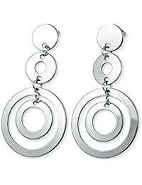 Ziory New Fashion Stainless Steel Silver Color Round Design Drop Earrings For Women Charming Earrings For Women...