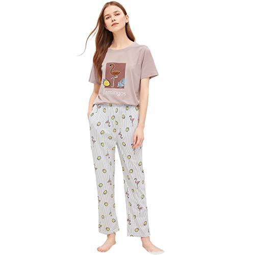 DIDK Damen Cartoonmuster Top und Short Zweiteilig Sleepwear Pyjama Set