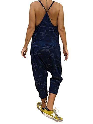 62880ac15f08c Tomwell Salopette Bretelles Femme Grande Taille Combinaison Militaire  Camouflage Bleu FR 34