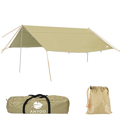 Anyoo 4x4m telo da campeggio per rifugio amaca leggera idrorepellente impermeabile durevole portatile e compatto inclusa di pali e picchetti puo essere usata per campeggio pesca andare al mare o fare un picnic