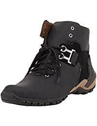YB Bazaar Casual Shoes For Men/ Black & Tan Synthetic Leather Boots/All Sizes (Black \ Tan )