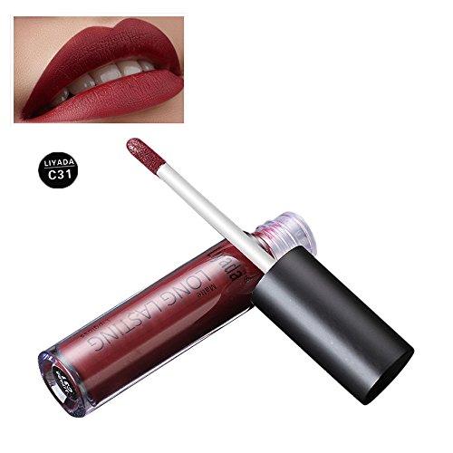 Yazidan Liyada Mode Flüssigkeit Lippenstift Feuchtigkeitscreme SAMT Kosmetik Schönheit Make-up Kreativ Charmant Toilettenartikel Party Nicht verblassen Antihaft Tasse Farbe Glamourös Vampir-Stil(C31)