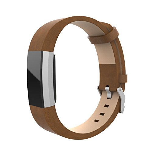 EloBeth für Fitbit Charge 2 Armband Sport Smart Watch Leder Strap Replacement Wrist Band Uhrenarmband Ersatzband Bügel für Fitbit Charge 2 Fitness tracker(Leder 2 Braun)