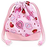 Drawstring Gokigen lunch and ribbon (small size) with gusset bag cup Heart glitter Beauty (Pink) x Ox pink made in Japan N3560900 (japan import) preisvergleich bei kinderzimmerdekopreise.eu