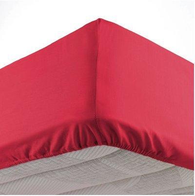 Draps Housse 100% COTON Rouge,Noir,Blanc,Gris 180X200 57 FILS (ROUGE)