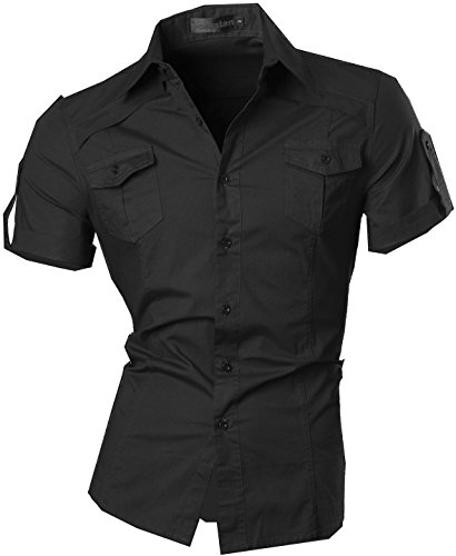 Jeansian uomo camicie manica corta moda men shirts slim fit casual fashion 8360 black xxl