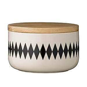 Bloomingville saladier/bol avec couvercle en bois motifs 14,5 cm