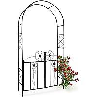 Relaxdays 10010031 10010031 - Arco de metal para rosas con puerta color Negro