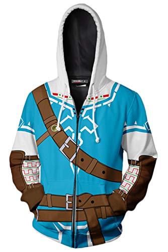 MingoTor Herren Coat The Legend of Zelda Kapuzenpullover Reißverschluss Mantel Hoodie mit Kapuze Kapuzenjacke Hooded Pulli Sweatshirt Lange Ärmel Unisex -